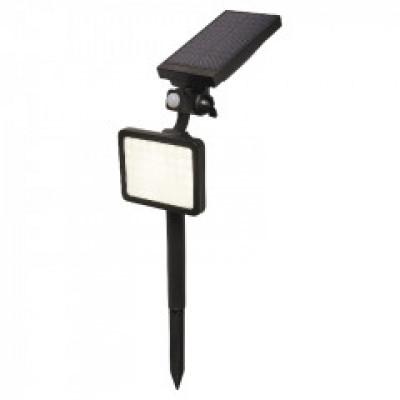 Lampă solară tip proiector, negru, cu LED integrat de 500 lm Alb rece 5000 K Senzor de mişcare IP44
