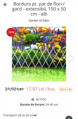 Bordură pentru pat de flori /gard extensibil la reducere