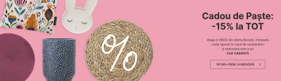 Cadou de Paste - 15% reducere la TOT pe Bonami.ro