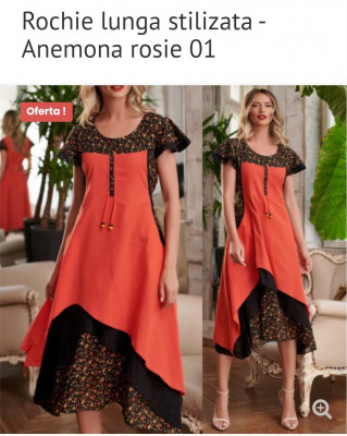 Rochie lungă stilizată - anemona roșie