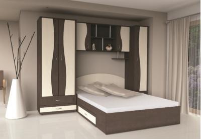 Mobila dormitor tineret cuD2 Wenge +Mesteacăn