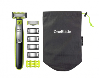 Aparat hibrid de barbierit, tuns barba si parul corporal Philips OneBlade QP2630/30, 4 piepteni, 2 lame, Negru/Verde