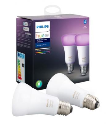 Pachet 2 becuri inteligente LED RGBW Philips HUE, Bluetooth/Wireless, E27, 9W (60W), 806 lm, A+, lumina alba/color