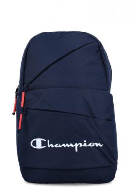 Champion, Rucsac cu partea din spate si bretele intarite, cu imprimeu logo, Bleumarin/Alb optic/Corai