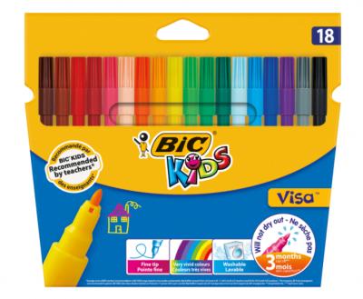 set marker bic visa, lavabile, multicolor, 18 buc