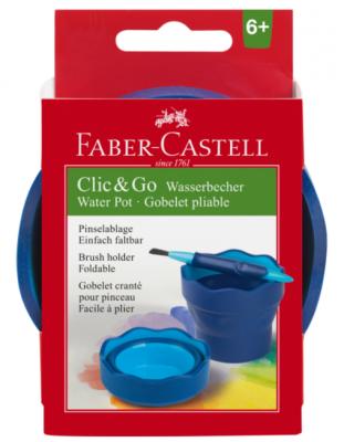 cutie apa faber-castell click-go, albastra