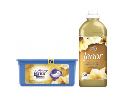 Pachet promo: detergent capsule lenor all in one pods gold orchid 28 spalari + balsam lenor gold orchid 50 spalari