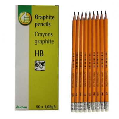 Creion auchan cu mina din grafit si radiera